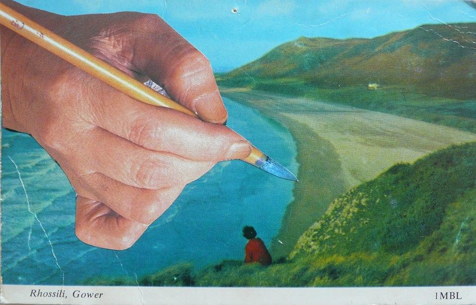 Jean McEwan altered postcard